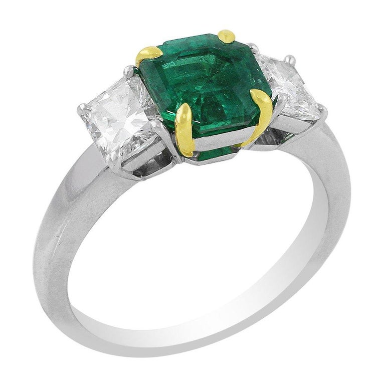 Octagon Cut CJ Charles Platinum Emerald Diamond Ring GIA Certified For Sale