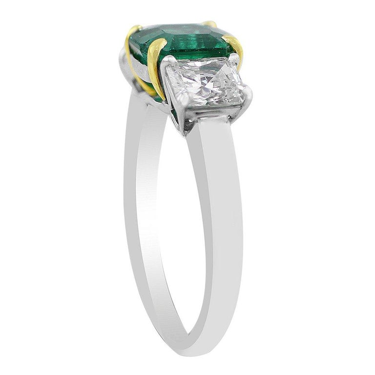 CJ Charles Platinum Emerald Diamond Ring GIA Certified In Excellent Condition For Sale In La Jolla, CA