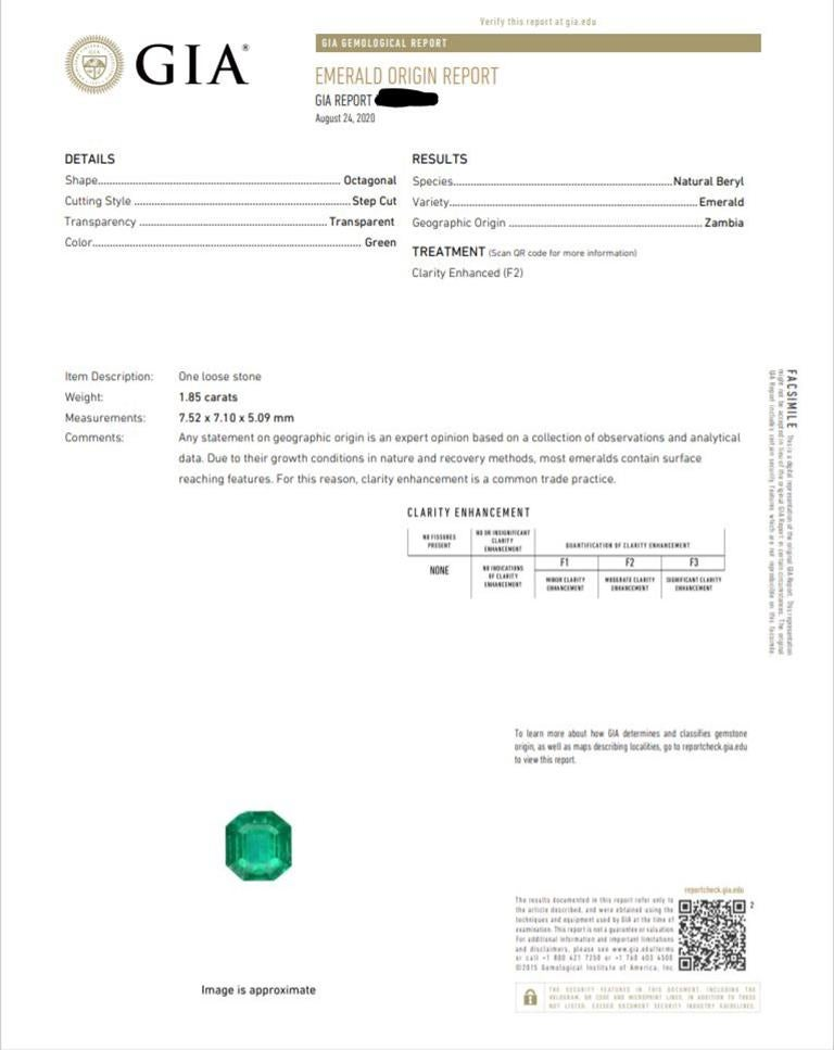 CJ Charles Platinum Emerald Diamond Ring GIA Certified For Sale 2