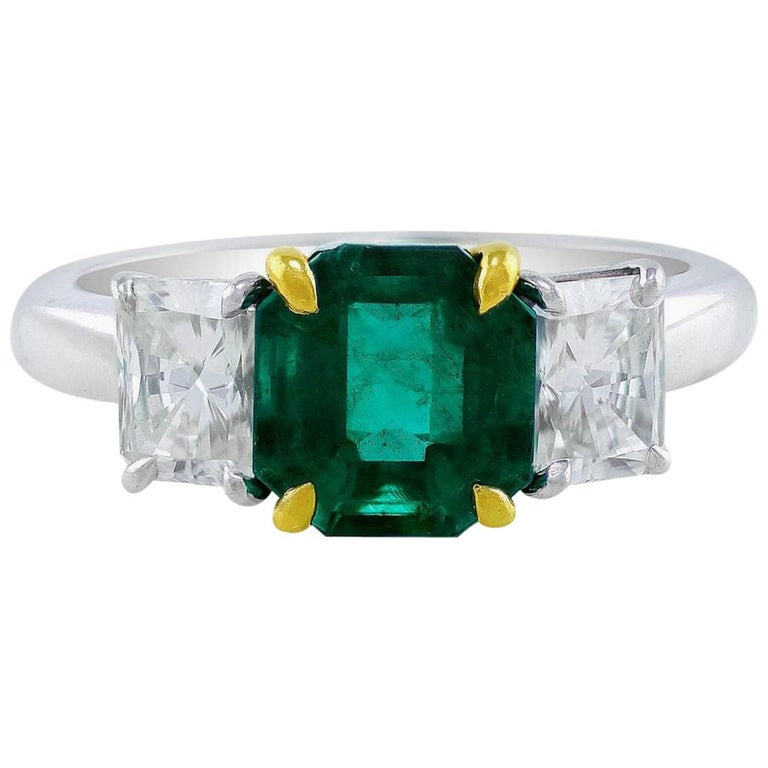 CJ Charles Platinum Emerald Diamond Ring GIA Certified For Sale