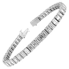 Platinum Emerald Diamond Tennis Bracelet '20 1/2 Ct .tw'