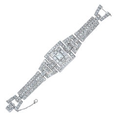 Platinum Emerald French-Cut 31 Carat Diamond Bracelet