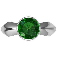 Platinum Emerald Sculpture Ring