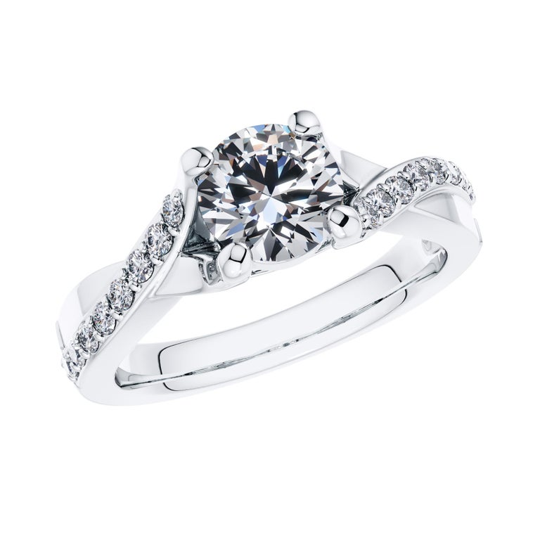For a beautifully entwined journey together, this gleaming twisted vine modern classic engagement ring. Handmade in high grade Platinum 950 to British Standard, with a total of 0.68 Carat White Diamonds. Set in an open gallery 4 prong mount with a