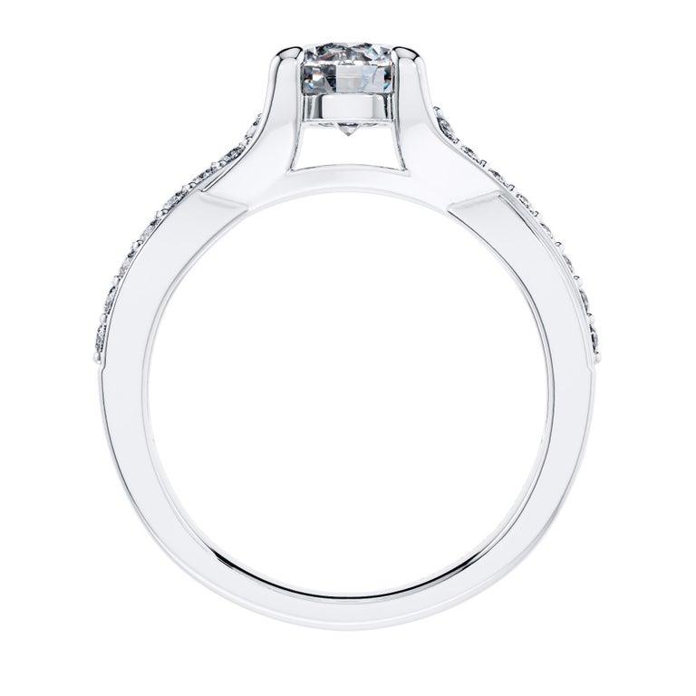 Modern Platinum Engagement 0.68 Carat Round Diamond Bespoke Twisted Love 4 Prong Ring For Sale