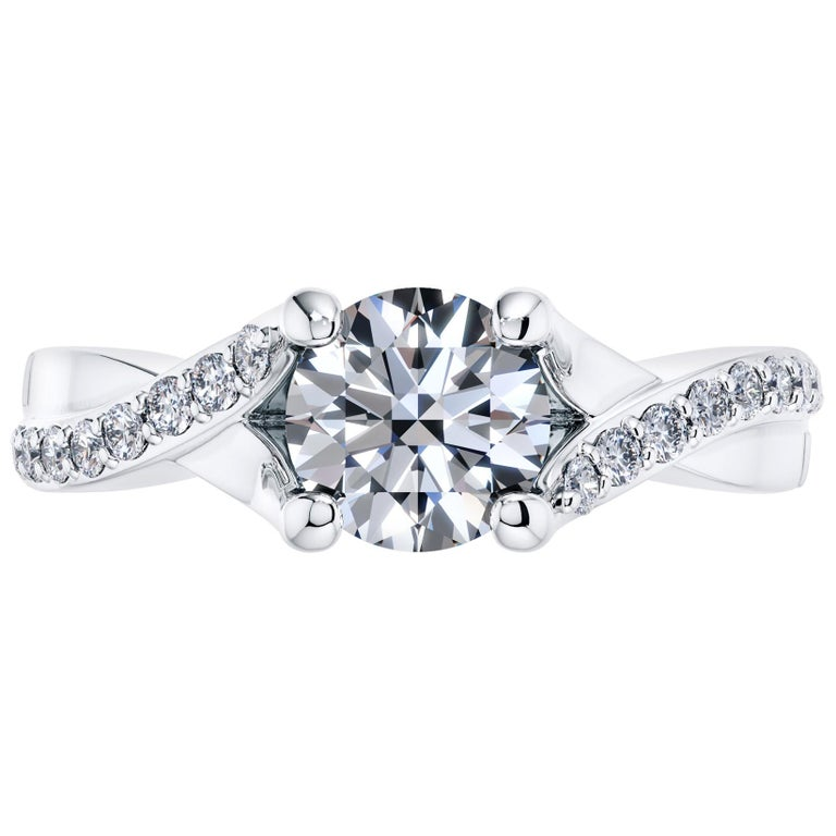 Platinum Engagement 0.68 Carat Round Diamond Bespoke Twisted Love 4 Prong Ring For Sale