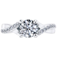 Platinum Engagement 0.82 Carat Round Diamond Bespoke Fancy Twist 4 Prong Ring