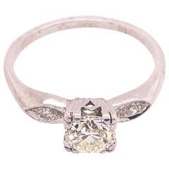 Platinum Engagement Ring .80 Total Diamond Weight