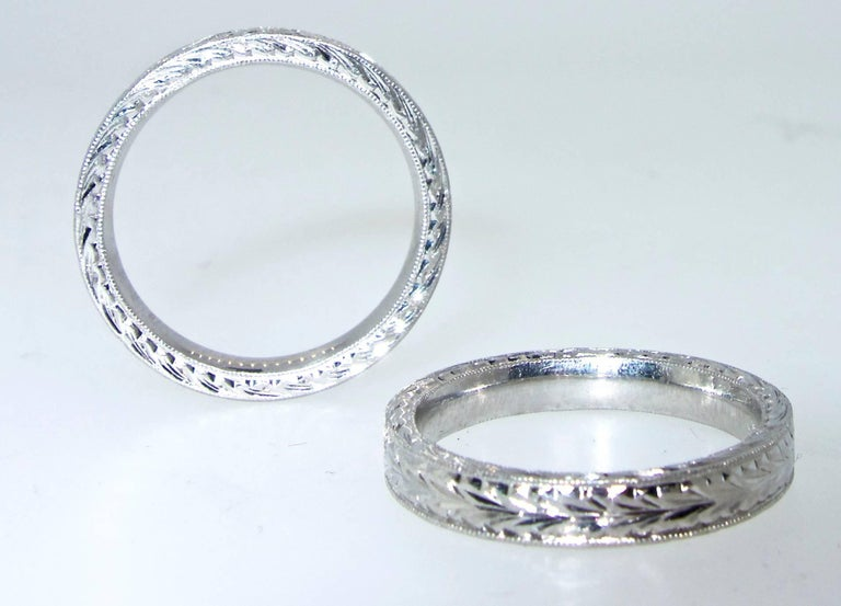 Platinum Engraved Band by Michael Beaudry For Sale 2