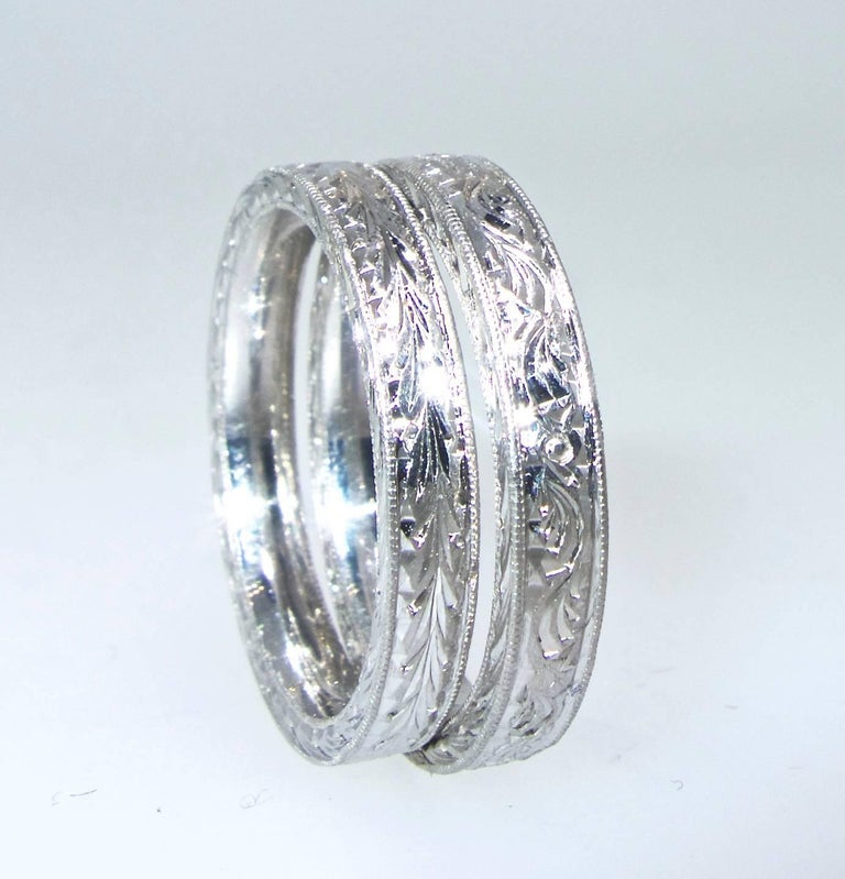 Platinum Engraved Band by Michael Beaudry For Sale 4