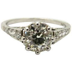 Platinum Estate 1.00 Carat Old European Cut Diamond Antique Engagement Ring
