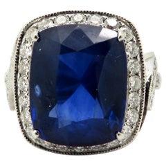 Platinum Estate 15.38 Carat Cushion Sapphire and Diamond Platinum Ring
