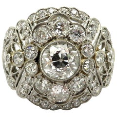 Platinum Estate 2.50 carat Art Deco Style Diamond Engagement Ring