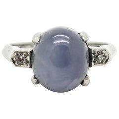 Platinum Estate 3.00 Carat Star Sapphire and Diamond Ring
