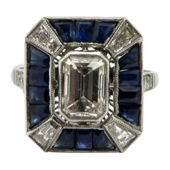 Platinum Estate Art Deco Style Emerald Cut Diamond and Sapphire Engagement Ring