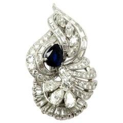 Platinum Estate Art Deco Style Sapphire and Diamond Brooch/Pendant