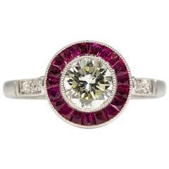 Platinum Estate Diamond and Rubies Halo Ring