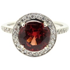 Platinum Estate GIA Certified Round Red Spinel and Diamond Halo Ring