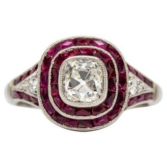 Platinum Estate Old Mine Cushion Diamond and French Cut Rubies Ring