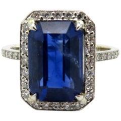 Platinum Estate Vintage Emerald Cut Sapphire and Diamond Halo Eternity Band Ring