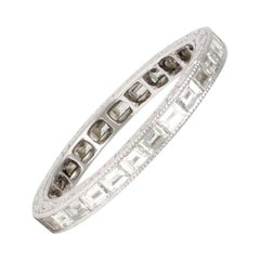Platinum Eternity Baguette Diamond Band Ring Hand Carved