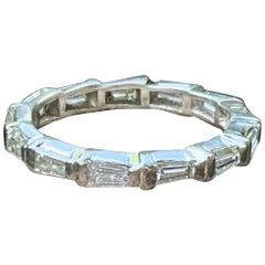 Platinum Eternity Band with 1.0 Carat Tapered Baguettes Diamonds