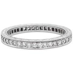 Platinum Eternity Diamond Band, .50 Carat Diamonds, Vintage Hand Engraved