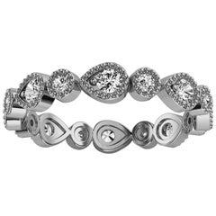 Platinum Eternity Milgrain Organic Design Diamond Ring '2/5 Ct. Tw'