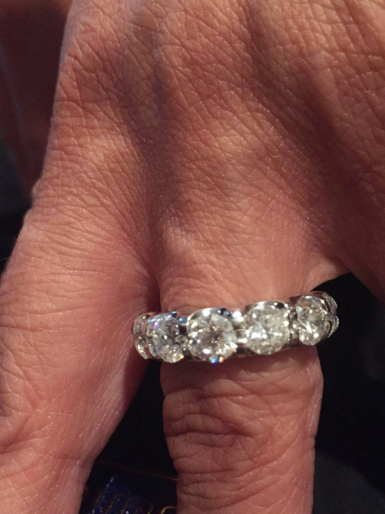 Modern Platinum Eternity Ring 7 Carats. For Sale