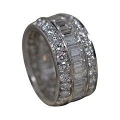 Platinum Eternity Ring with Emerald Cut & Round Brilliant Cut Diamonds, 7.29ct