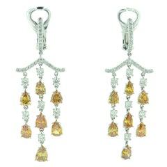 Fancy Color Pear Shape Diamond Platinum Chandelier Earrings