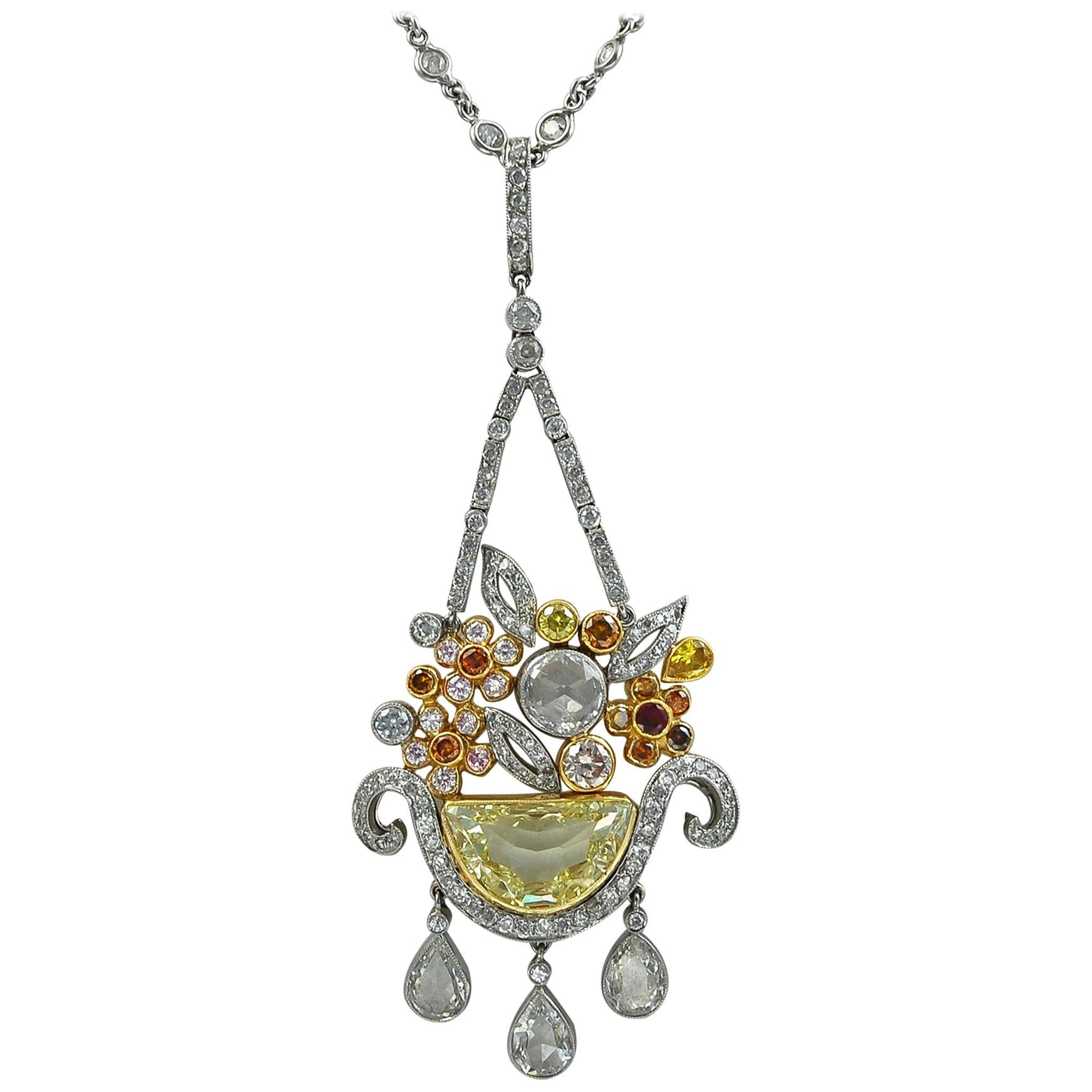 Platinum Fancy Colored Diamonds Necklace