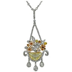Platinum Fancy Colored Diamonds Necklace