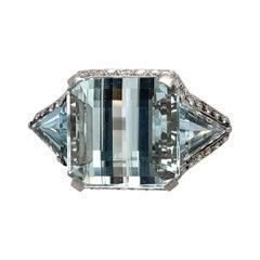 Platinum Fancy Cut Aquamarine & Diamond Ring