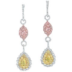 Platinum Fancy Pink, Yellow, and White Diamond Drop Earrings