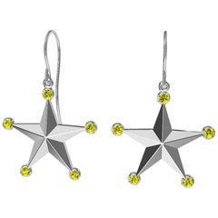 Platinum Fancy Vivid Yellow Diamond Star Dangle Earrings