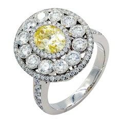 Platinum Fancy Yellow 1.02ct Oval Diamond Engagement Ring Handmade
