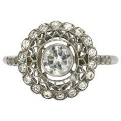 Platinum Filigree Old European Diamond Halo Engagement Ring Honeycomb Cluster