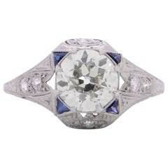 Platinum Filigree Setting with 2.08 Ct Center Diamond, Accented with Sapphires