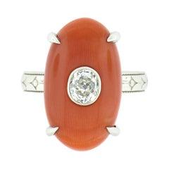 Platinum Fine Antique Oval GIA Reddish Orange Coral & Mine Cut Diamond Ring