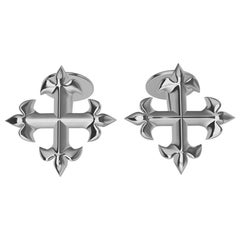 Platinum Fleur de Lis Cross Cuff Links