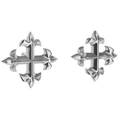 Platinum Fleur-de-Lis Cross Stud Earrings