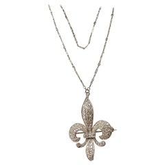 Platinum Fleur-de-Lis Diamond Brooch Pendant Necklace