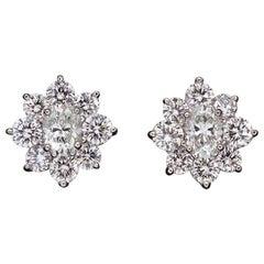 """Platinum """"Flower"""" Diamond Earrings"""