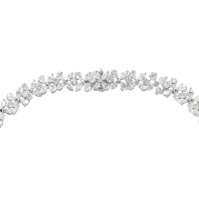 Marquise Cut Platinum Flower Diamond Necklace For Sale