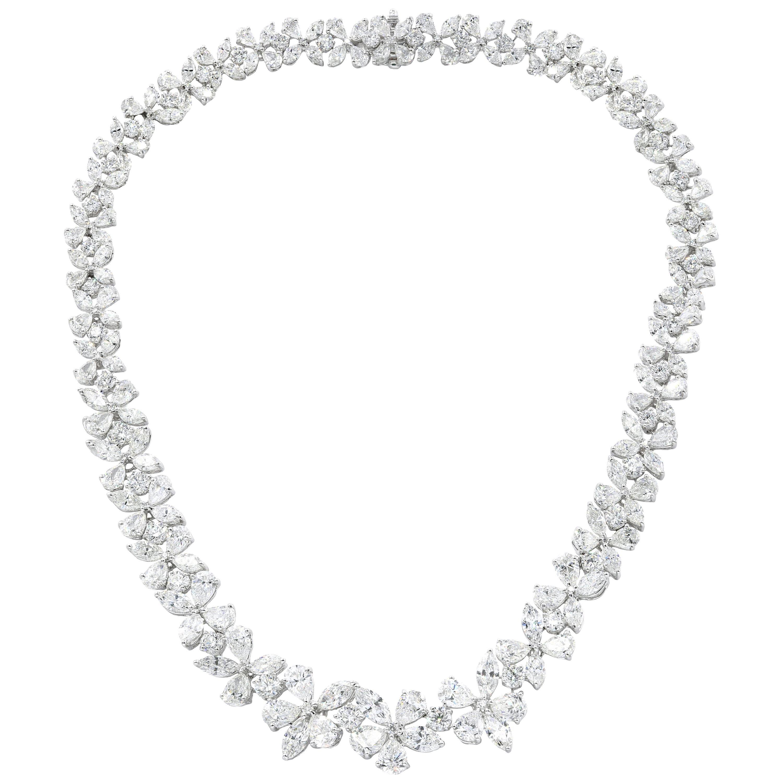 Platinum Flower Diamond Necklace