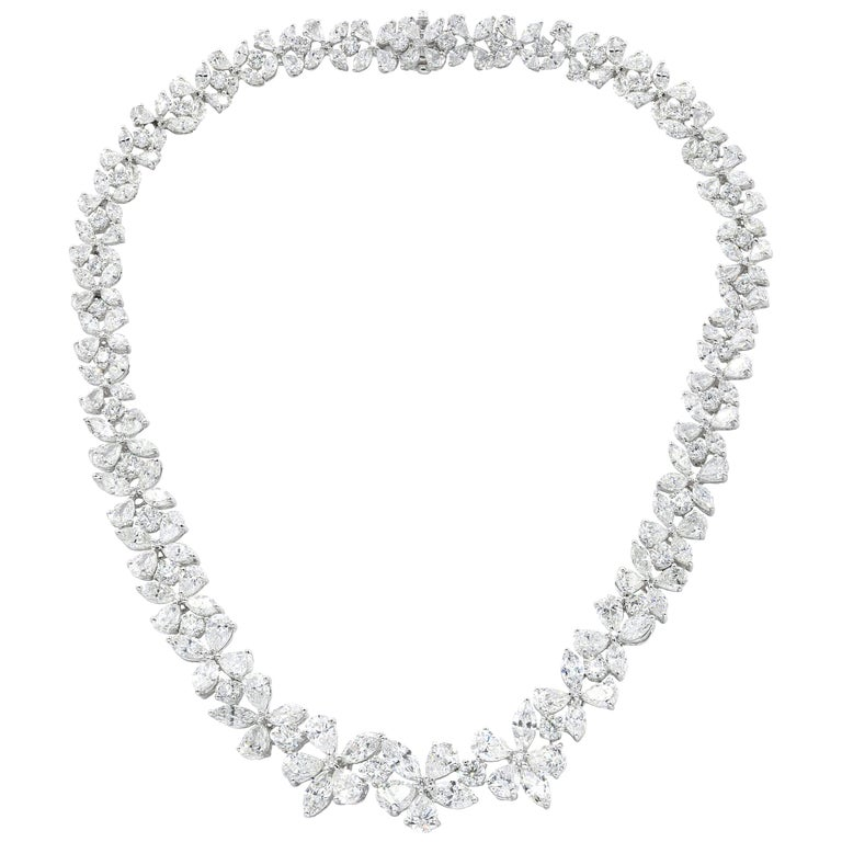Platinum Flower Diamond Necklace For Sale