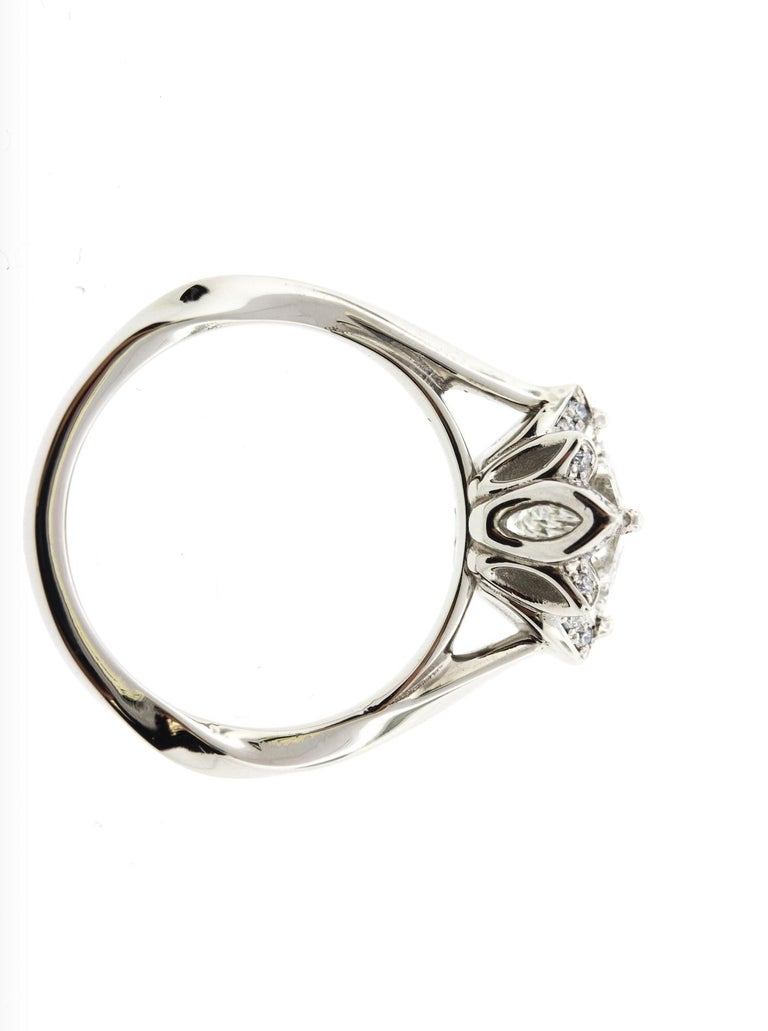 Art Deco Platinum Flower Engagement Ring GIA Certified Centre Stone For Sale