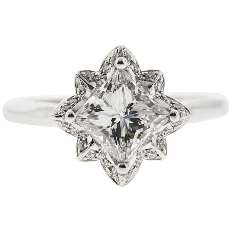 Platinum Flower Engagement Ring GIA Certified Centre Stone For Sale