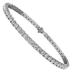 Platinum Four Prongs Diamond Tennis Bracelet '5 Carat'